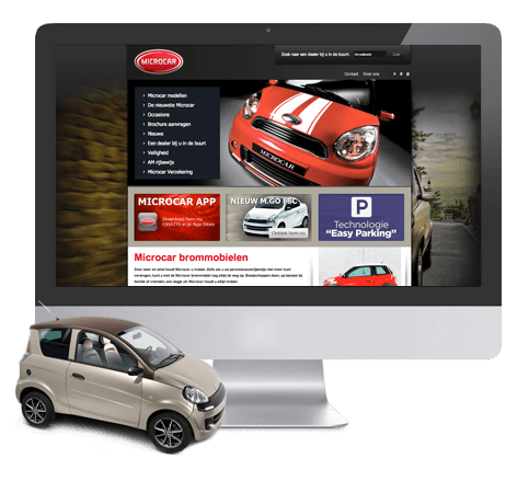 Automotive lifestyle webdesign voor Microcar