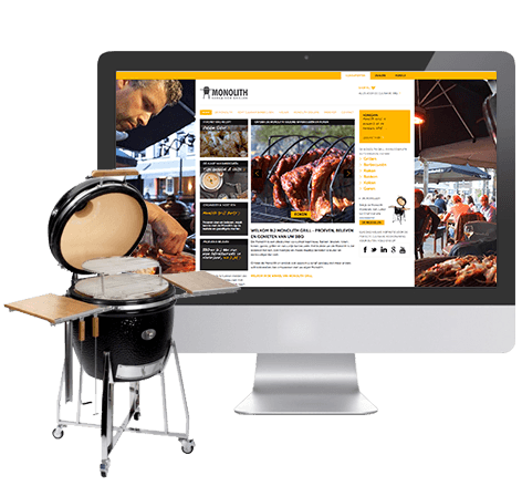 Marketing, webdesign, webdevelopment website & webshop voor Monolith Grill