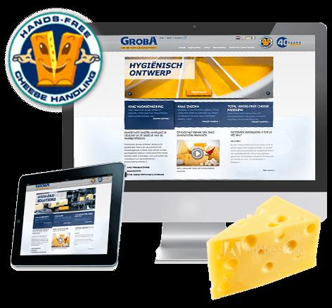 Een fris en clean webdesign voor Groba Hands-Free Cheese Handling