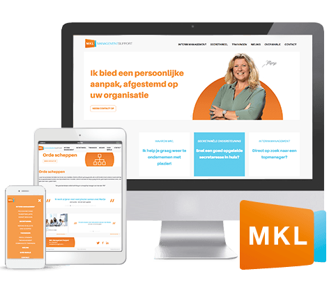 Fris en clean webdesign en huisstijl voor MKL Management Support